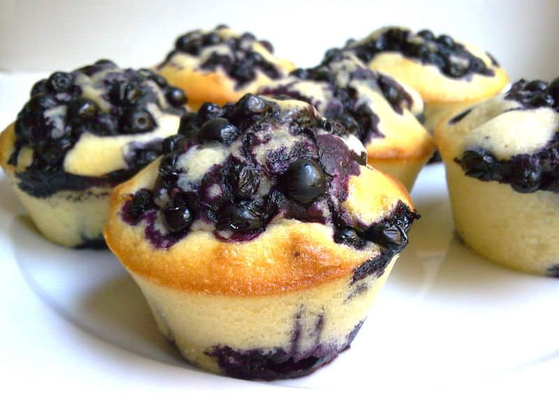 Muffins aux myrtilles (allégés et antioxydants)