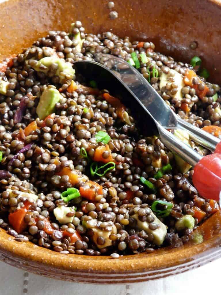 Salades de lentilles aux légumes frais
