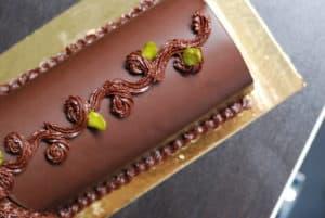 Bûche de noël allégée au chocolat et à la poire