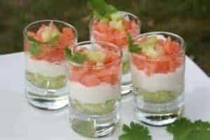 verrine de concombre au saumon fumé