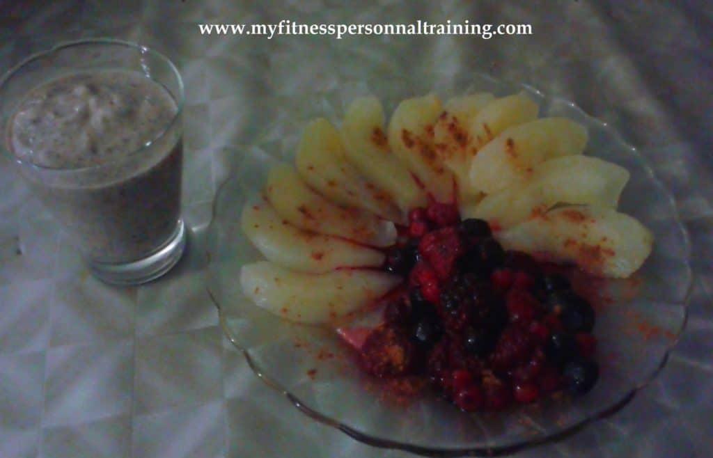 Idée p'tit déj mousse chocolat noisette aux fruits