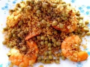 Quinoa aux petits pois crevettes