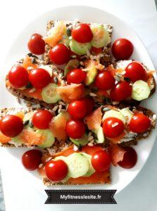 Petits pains grillés aux légumes frais
