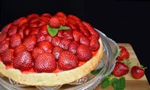 tarte aux fraises et à la crème allégée et sans lactose